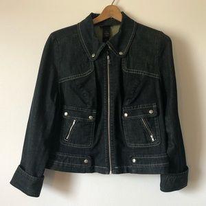 Lane Bryant cropped denim jacket zip up size 18